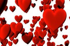 Beaucoup de coeurs rouges de velours d'isolement au-dessus du blanc Photographie stock libre de droits