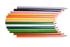 Beaucoup de crayons colorés d'isolement sur le fond blanc, endroit pour le texte Photographie stock libre de droits