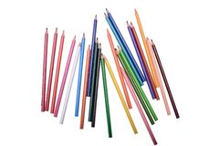 Beaucoup de crayons colorés d'isolement sur le fond blanc, endroit pour le texte Images stock