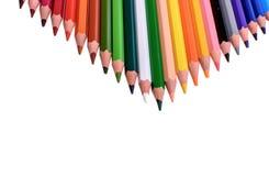 Beaucoup de crayons colorés d'isolement sur le fond blanc, endroit pour le texte Photos stock