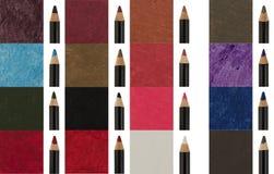 Beaucoup de crayons de revêtement de maquillage Photographie stock libre de droits