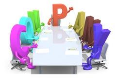 Beaucoup de 3d marque avec des lettres former la société de mot, autour d'une table de réunion Photos libres de droits