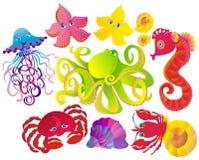 Beaucoup de différents animaux de mer. Vecteur Photos libres de droits