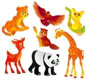 Beaucoup de différents animaux sauvages, illustration de vecteur Photo stock