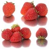Beaucoup de différents ensembles de fraises sur le fond blanc, isolat avec des fraises, beaucoup différentes sur une feuille Images stock