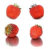 Beaucoup de différents ensembles de fraises sur le fond blanc, isolat avec des fraises, beaucoup différentes sur une feuille Photographie stock