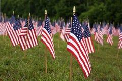 Beaucoup de drapeaux américains Image stock