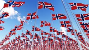 Beaucoup de drapeaux de la Norvège sur des mâts de drapeau contre le ciel bleu Photos stock