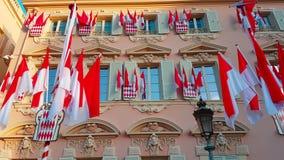 Beaucoup de drapeaux nationaux du Monaco banque de vidéos