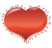 Beaucoup de flèches frappées au coeur Photographie stock