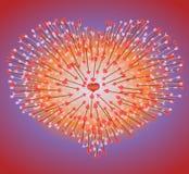Beaucoup de flèches volant au coeur Images libres de droits