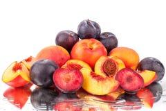 Beaucoup de fruits lumineux, pêches et prunes entières et de coupe sur un fond blanc de miroir dans l'eau se laisse tomber d'isol images libres de droits