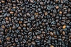 Beaucoup de grains de café rôtis sont ingrédient de cappucino, expresso, Images libres de droits