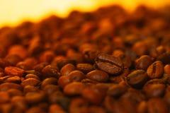 Beaucoup de grains de café à l'arrière-plan brouillé Photo stock