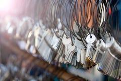 Beaucoup de groupes de Keychain Images stock