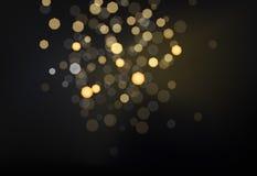 Beaucoup de lumières blured lumineuses sur le fond foncé Images libres de droits