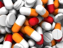 Beaucoup de médicament et pilules colorés Fond de concept Photos libres de droits