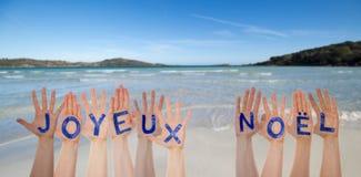 Beaucoup de mains construisant Joyeux Noel Means Merry Christmas, plage et océan image libre de droits