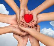 Beaucoup de mains de personnes tenant un coeur rouge Mains retenant un coeur rouge photographie stock