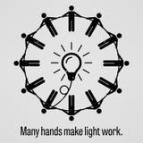 Beaucoup de mains effectuent le travail léger Photographie stock libre de droits