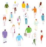 Beaucoup de marche, talkink et position de personnes illustration de vecteur