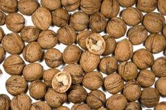 Beaucoup de noix sont sur un fond blanc photographie stock libre de droits