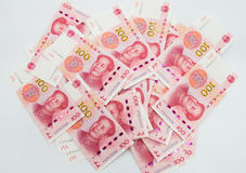 beaucoup de 100 notes chinoises de yuans de RMB Photos libres de droits