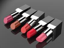 Beaucoup de nuances des rouges à lèvres Photographie stock