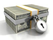 Beaucoup de paquets des 100 dollars verrouillés par la sécurité padlock Photographie stock libre de droits