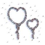 Beaucoup de personnes forment des ballons, amour, coeur, icône rendu 3d illustration stock