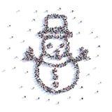 Beaucoup de personnes forment le bonhomme de neige, hiver, icône rendu 3d illustration libre de droits