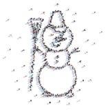 Beaucoup de personnes forment Noël, bonhomme de neige, icône rendu 3d illustration libre de droits