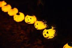 Beaucoup de petits potirons ont illuminé des lanternes de Halloween image libre de droits