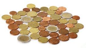 Beaucoup de pièces de monnaie d'euro Photos libres de droits