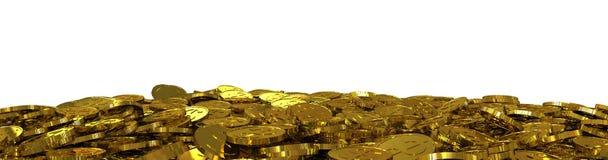 Beaucoup de pièces de monnaie du dollar d'or Image stock