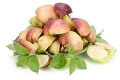 Beaucoup de pommes sont coupées par des parts Photo libre de droits
