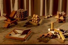 Beaucoup de puzzles en bois Photos libres de droits