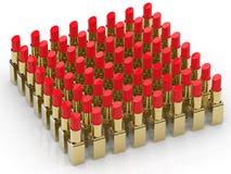 Beaucoup de rouges à lèvres rouges Image stock