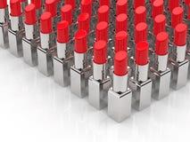 Beaucoup de rouges à lèvres rouges Images libres de droits