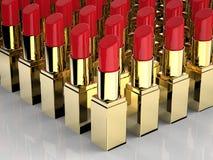 Beaucoup de rouges à lèvres rouges Images stock