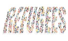 Beaucoup de silhouettes colorées des personnes sous forme de réfugiés de lettrage Images stock