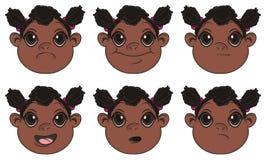 Beaucoup de têtes des filles de nègre illustration de vecteur