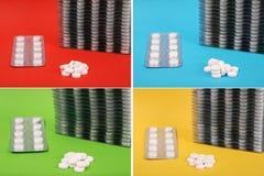 Beaucoup de tablettes blanches en emballage L'argent emballe des pilules Photographie stock