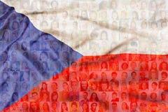 Beaucoup de visages divers sur le drapeau de République Tchèque illustration de vecteur
