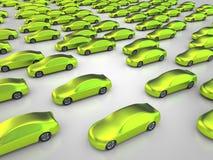 Beaucoup de voitures non polluantes vertes Photo stock