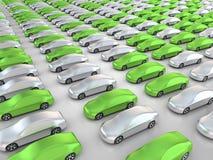 Beaucoup de voitures vertes en position de stationnement Images libres de droits