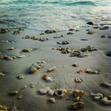 Beaucoup en pierre sur le sable avec des vagues, île Satun Thaïlande de Lipe Images libres de droits