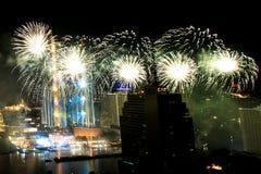 Beaucoup l'explosion colorée des feux d'artifice pilotent le ciel nocturne images libres de droits
