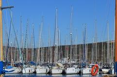 Beaucoup la belle voile amarrée fait de la navigation de plaisance dans le port maritime Photo libre de droits
