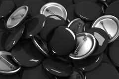 Beaucoup le bouton vide noir badges la maquette, le rendu 3d Photographie stock